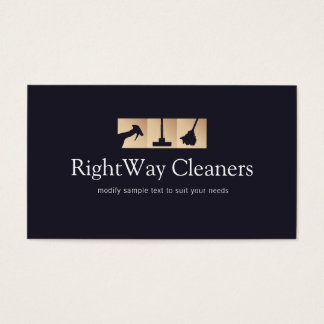 House Cleaner Gold Cleaning Service Logo Business Card