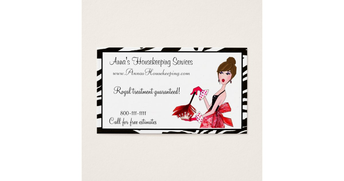 House Cleaning Diva / Dark Hair Business Cards | Zazzle.ca