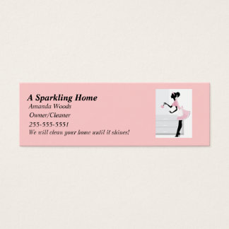 House Cleaning Skinny Busines Card w/ Pink Mai