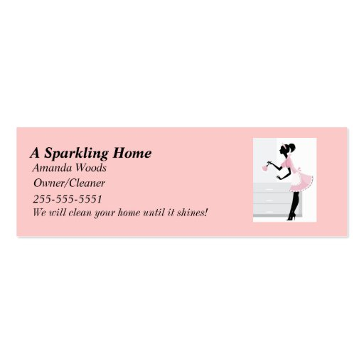 House Cleaning Skinny Busines Card w/ Pink Mai Business Card