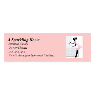 House Cleaning Skinny Busines Card w/ Pink Mai Mini Business Card
