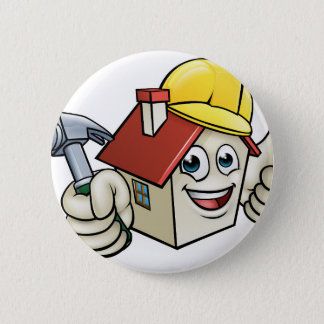 House Construction Mascot Cartoon Character 2 Inch Round Button