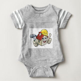 House Construction Mascot Cartoon Character Baby Bodysuit