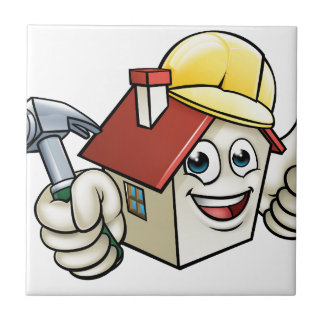 House Construction Mascot Cartoon Character Tile