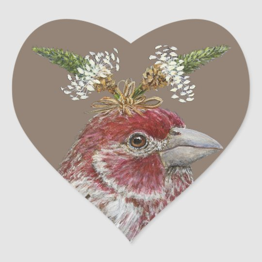 house finch heart stickers
