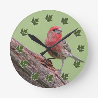 House Finch Round Clock