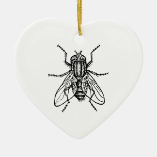 House Fly Ceramic Heart Ornament