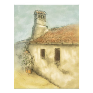 house in coimbra portugal colored drawing personalized letterhead