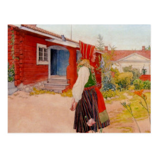 House in Falun with Girl Postcard