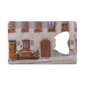 House in Gruyere village, Switzerland Credit Card Bottle Opener