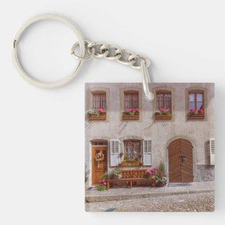 House in Gruyere village, Switzerland Keychain
