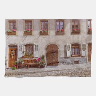 House in Gruyere village, Switzerland Kitchen Towels