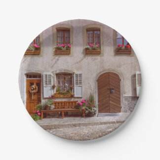 House in Gruyere village, Switzerland Paper Plate