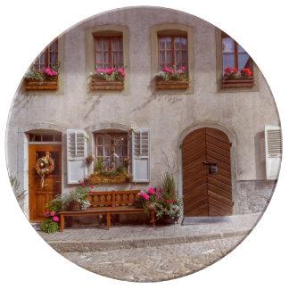 House in Gruyere village, Switzerland Plate