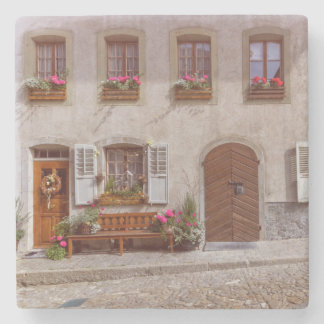 House in Gruyere village, Switzerland Stone Coaster