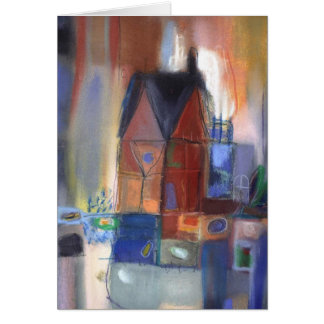 house in squares greeting card