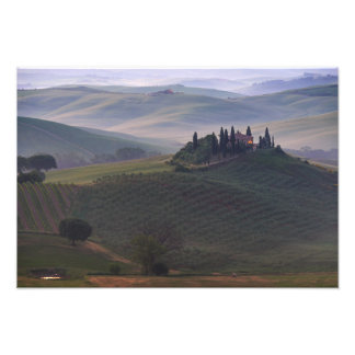 House in Tuscany in the morning fog print Photo