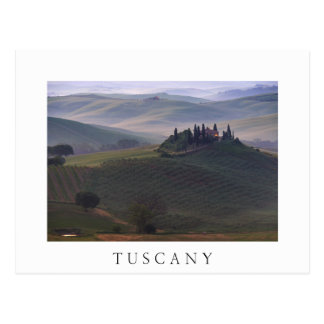House in Tuscany in the morning fog white postcard