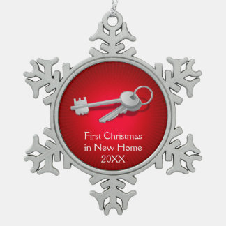 House Keys | First Christmas in New Home Snowflake Pewter Christmas Ornament