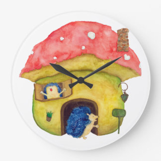 House made of mushrooms hedgehog live wallclocks