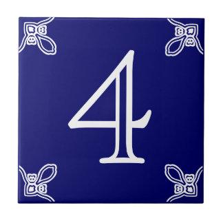 House Number - Spanish White on Blue Tile