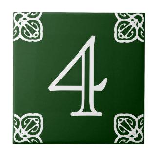 House Number - Spanish White on Green Tile