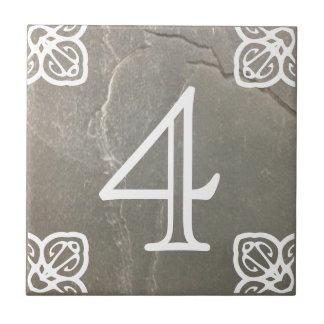 House Number - Spanish White on Slate Tile