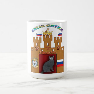 House of Russian Blue cat crest mug - Russia flag