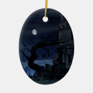 house of scary dreams ceramic oval ornament