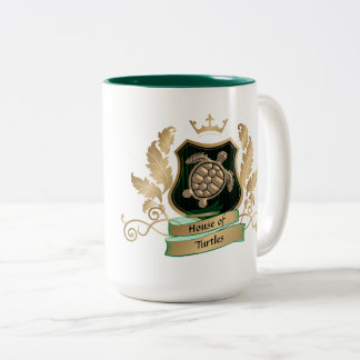 House of Turtles Crest Design Mugs - Green Gold