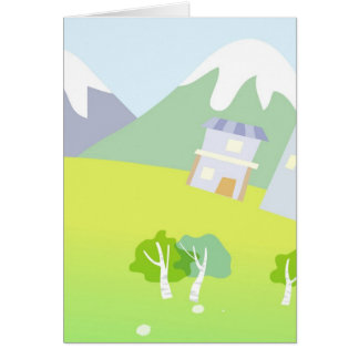 House on a hill on pastel blue background. card