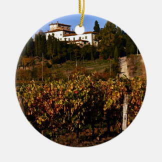 House on the Tuscan Hill Round Ceramic Ornament