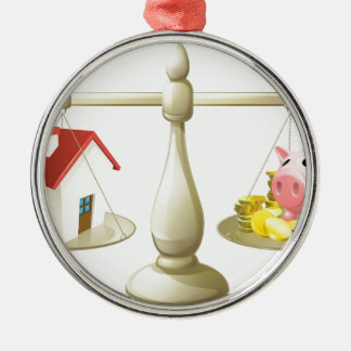 House or savings scale concept metal ornament