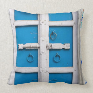 House painted blue, Udaipur, Rajasthan, India Throw Pillow