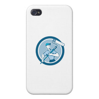 House Painter Paint Roller Circle Cartoon iPhone 4 Covers