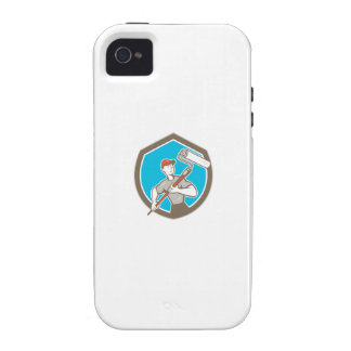 House Painter Paint Roller Shield Cartoon Case-Mate iPhone 4 Cover