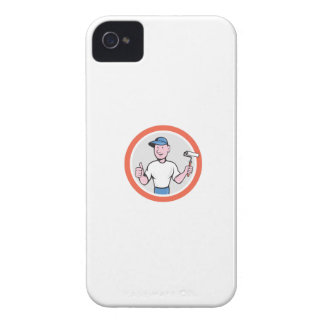 House Painter Paint Roller Thumbs Up Cartoon Case-Mate iPhone 4 Cases