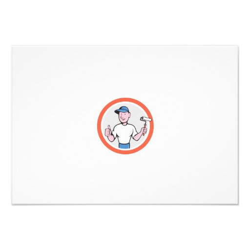 House Painter Paint Roller Thumbs Up Cartoon Personalised Invites