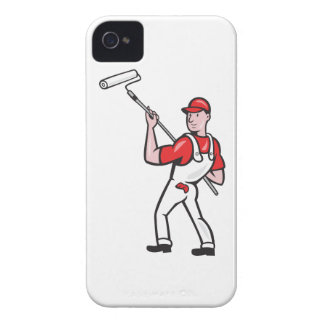 House Painter With Paint Roller Cartoon iPhone 4 Case-Mate Case