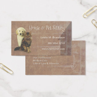 House & Pet Sitting Dog & Cat Business Card