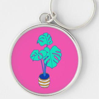 House Plant 01 Silver-Colored Round Keychain