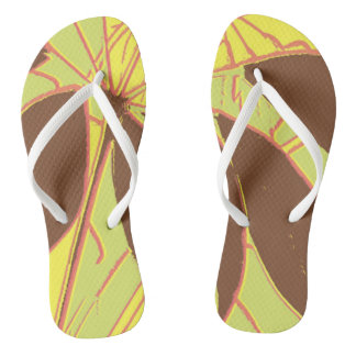 House Plant Yellow Green Red Flip Flops