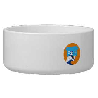 House Remover Carrying House Circle Retro Dog Bowl