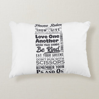 House Rules black Accent Pillow