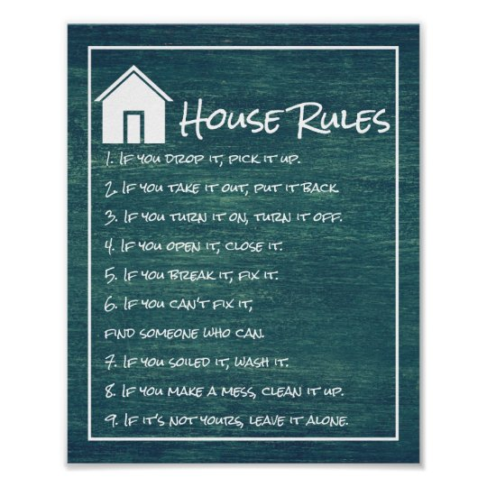 House Rules Poster | Zazzle.ca