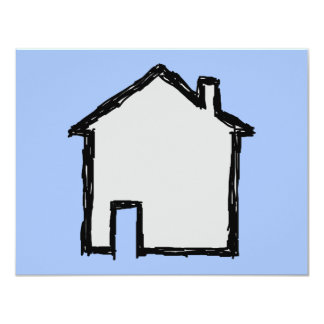 """House Sketch. Black and Blue. 4.25"""" X 5.5"""" Invitation Card"""