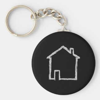 House Sketch. Gray and Black. Basic Round Button Keychain