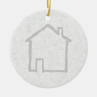 House Sketch. Gray. Ceramic Ornament