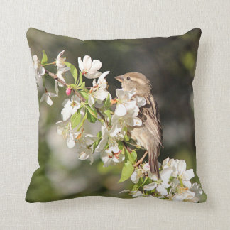 House sparrow and spring blossoms throw pillow