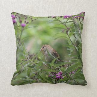 House sparrow in the garden throw pillow